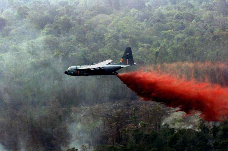 A C-130 fights wildfires
